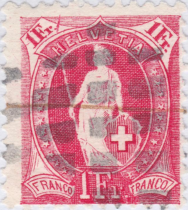 Helvetia - SBK 91C, Stehende Helvetia, 1 Fr. karmin 91c_2_12