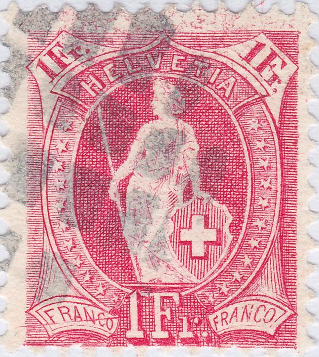Helvetia - SBK 91C, Stehende Helvetia, 1 Fr. karmin 91c_2_14