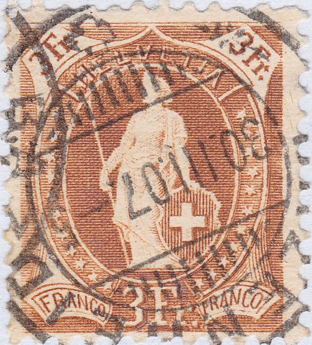 SBK 92C, Stehende Helvetia 3 Fr.  92c_3_14