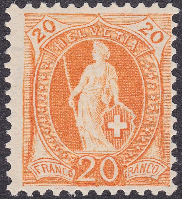 SBK 94A, Stehende Helvetia, 20 Rappen 94a-ii10