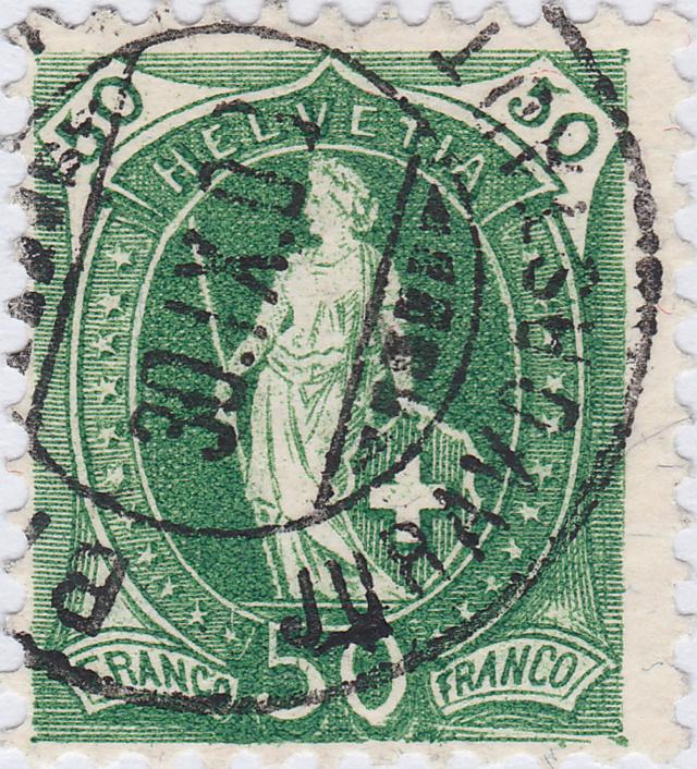 SBK 98A Stehende Helvetia 50Rp grün 98a_2_11