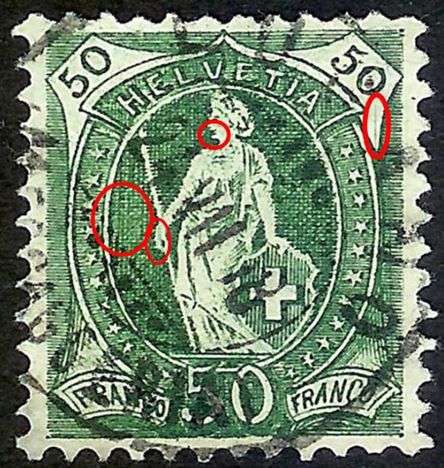 SBK 98A Stehende Helvetia 50Rp grün 98a_3_12