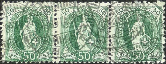 SBK 98A Stehende Helvetia 50Rp grün 98a_3_13