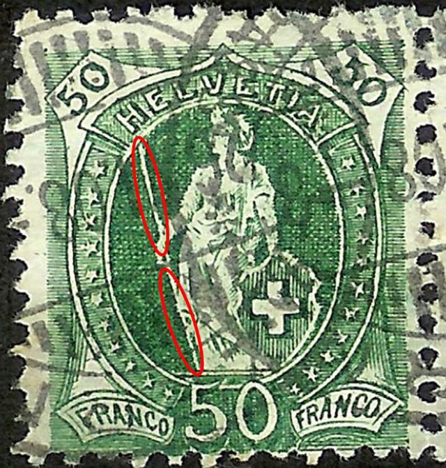 SBK 98A Stehende Helvetia 50Rp grün 98a_3_14