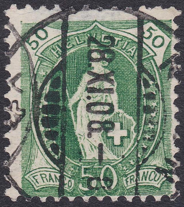 SBK 98A Stehende Helvetia 50Rp grün 98a_3_15