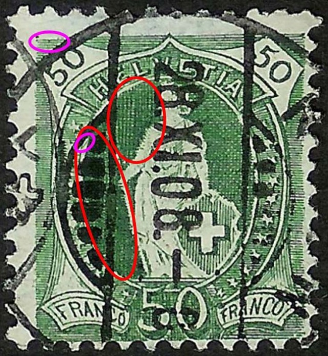 SBK 98A Stehende Helvetia 50Rp grün 98a_3_16