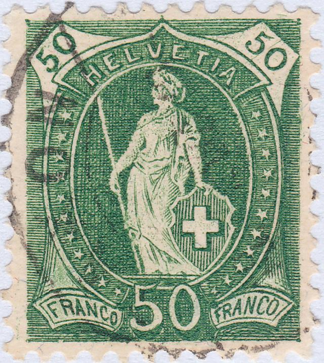 SBK 98A Stehende Helvetia 50Rp grün 98a_3_17