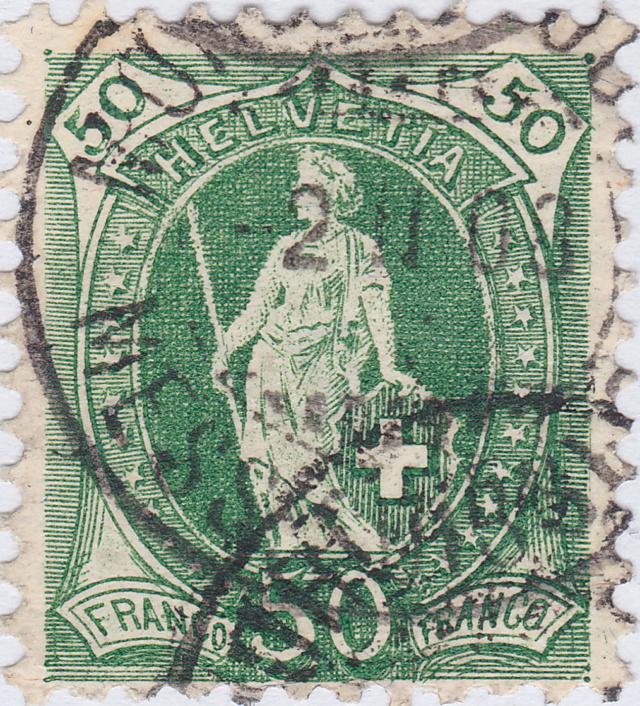 SBK 98A Stehende Helvetia 50Rp grün 98a_3_22