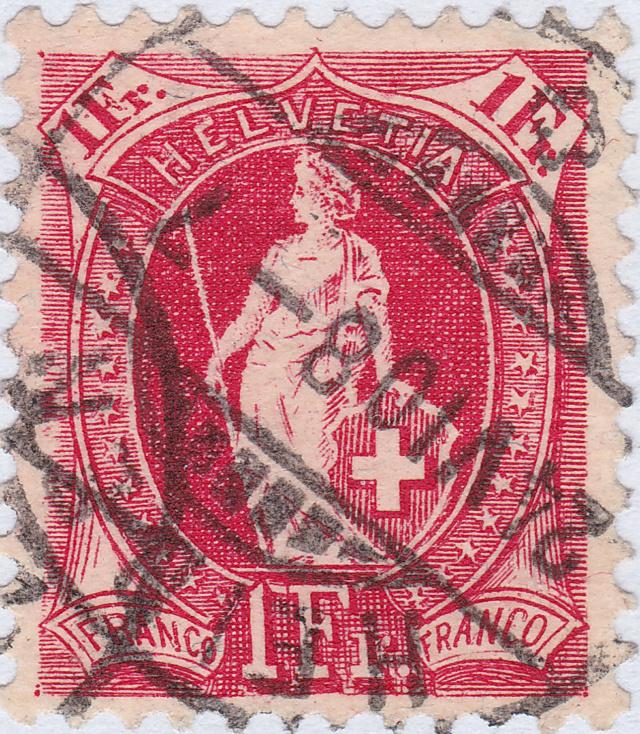 SBK 99A, Stehende Helvetia 1 Fr, rosakarmin 99a_3_12