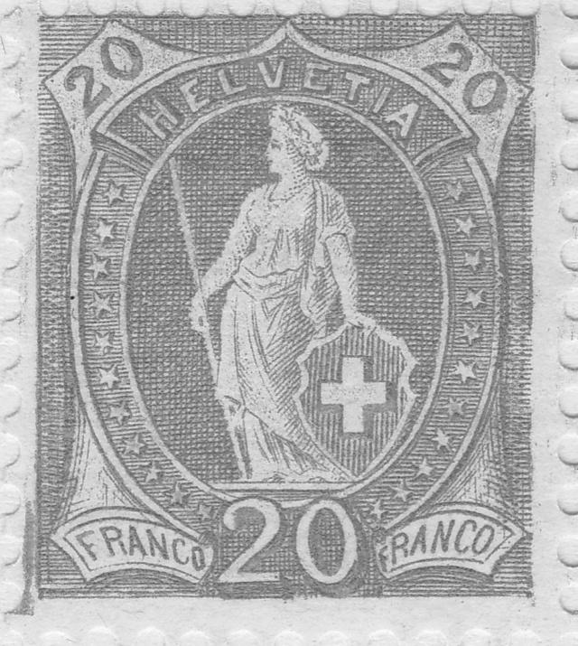 Stehende - 72A Stehende Helvetia 3Fr. A1_fel10