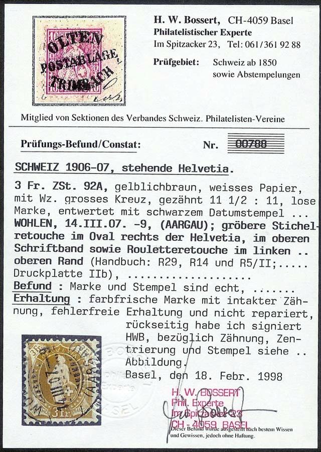 SBK 92A, Stehende Helvetia 3 Fr Attest11