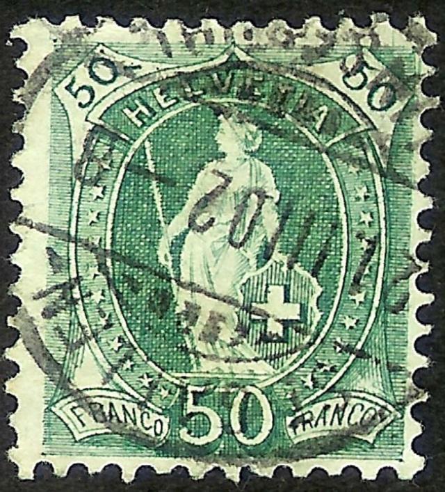 SBK 98A Stehende Helvetia 50Rp grün Farbig10