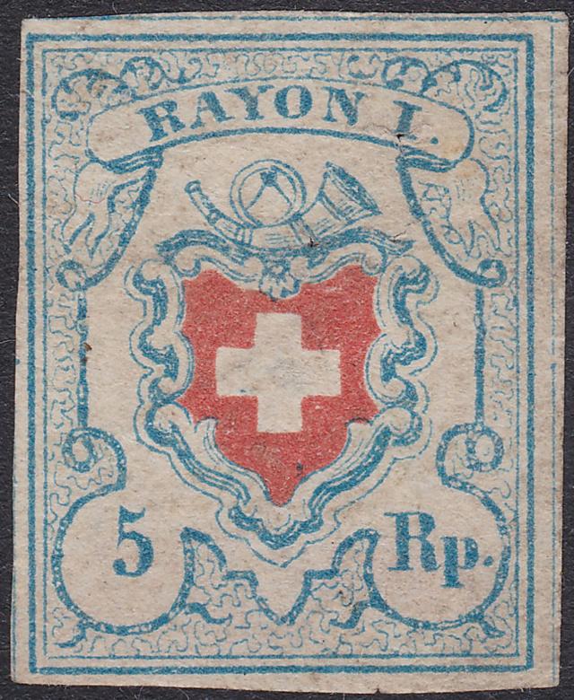 SBK 17II (Mi 9II) Rayon I, hellblau ohne Kreuzeinfassung Rayon_13