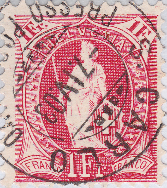SBK 99A, Stehende Helvetia 1 Fr, rosakarmin Stempe13