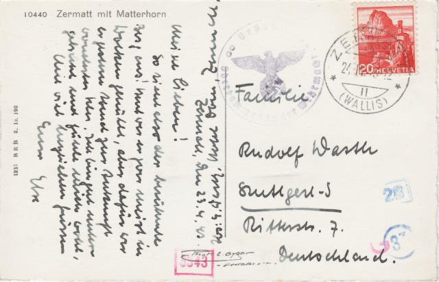 Belege aus der Schweiz, die zensiert wurden Zermat10