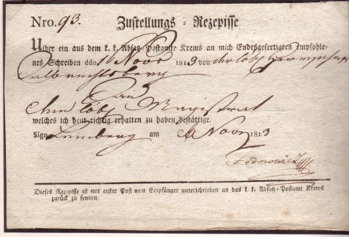 Retour Recepissen 1813zu12