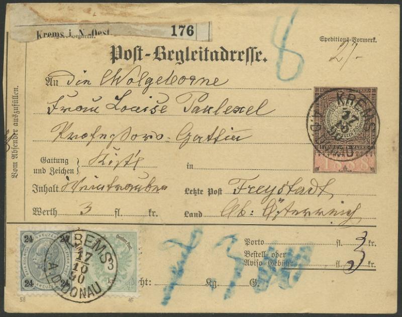 Postbegleitadressen mit fiskalischem Werteindruck 189010