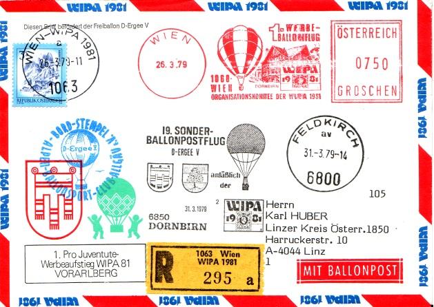 19. Sonder-Ballonpostflug - Pro Juventute / WIPA 1981 1ballo10