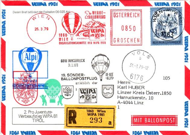 19. Sonder-Ballonpostflug - Pro Juventute / WIPA 1981 2ballo11