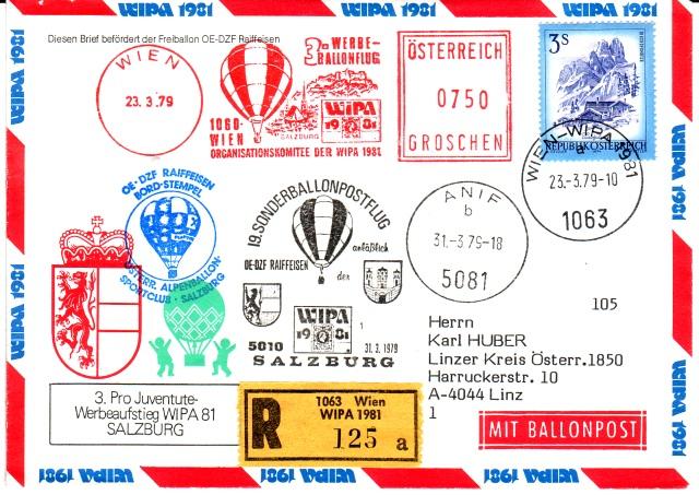 19. Sonder-Ballonpostflug - Pro Juventute / WIPA 1981 3ballo10