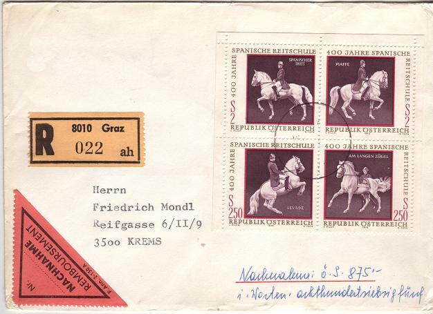 Horses / Pferde (Marken auf Brief oder Karte) Hofrei10