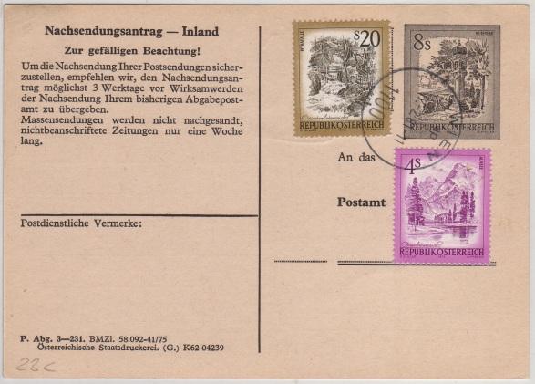 Drucksorten der Post - Nachsendungsantrag Nachse10