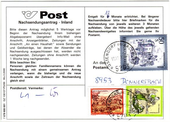 Drucksorten der Post - Nachsendungsantrag Nachse12