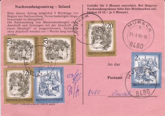 Drucksorten der Post - Nachsendungsantrag Nachse16