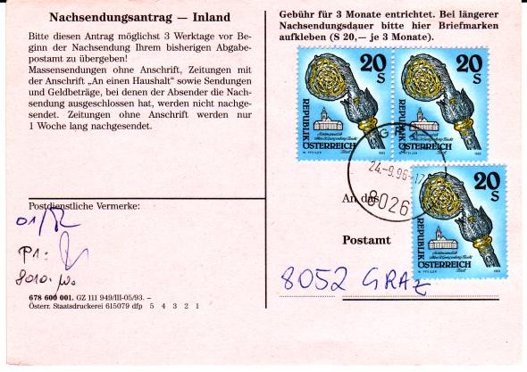 Drucksorten der Post - Nachsendungsantrag Nsa9610