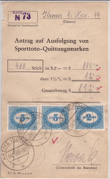 Verwendung von Portomarken in Österreich Sportt11