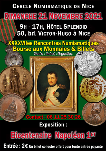 Bourse Numismatique à Nice le 21 novembre 2021 ... Affich11
