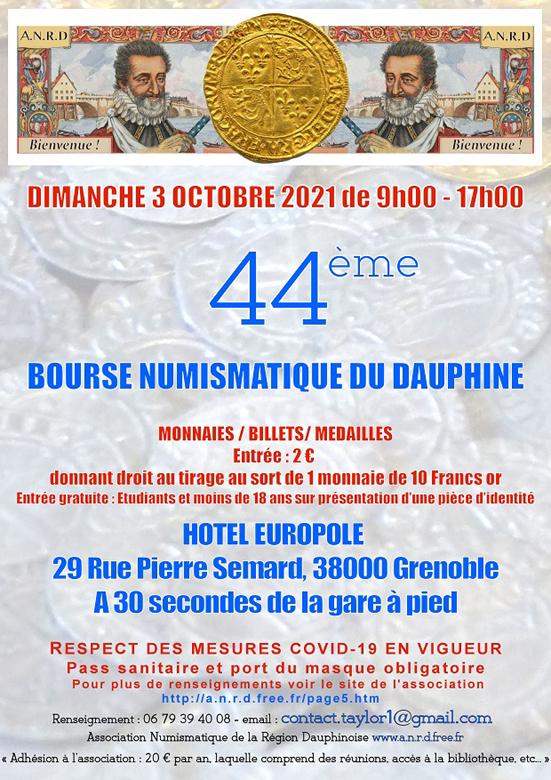 Bourse Numismatique ANRD, 3 Octobre 2021 à Grenoble Affich12