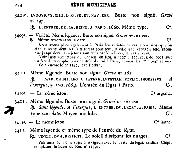 Jeton entree du legat a Paris. Avers jeune buste de Louis XIV. Feuard13