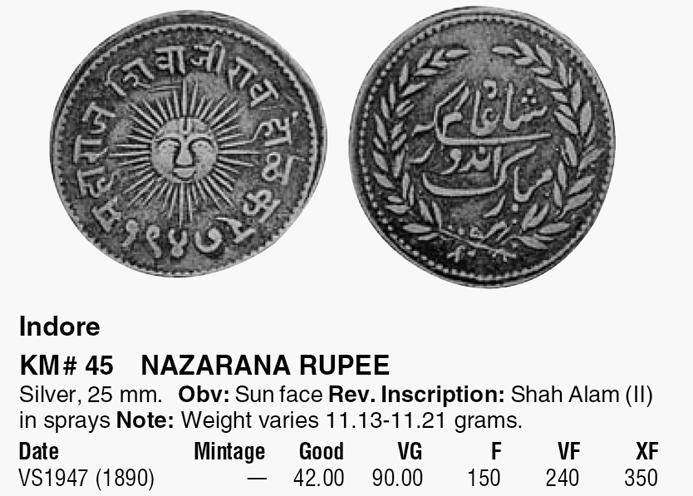 Roupie indienne de l'État Princier d'INDORE, 19e siècle ... Km45_i10