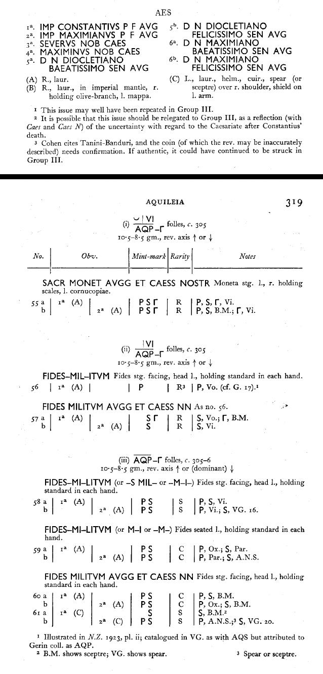 """Follis (Nummus) pour Galère """"FIDES MILITVM AVGG ET CAESS NN"""" ... Ric6_p10"""