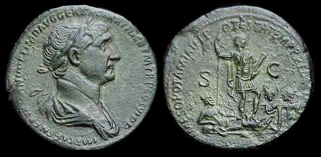 """Sesterce de Trajan """"ARMENIA ET MESOPOTAMIA IN POTESTATEM P. R. REDACTAE"""" Trajan10"""