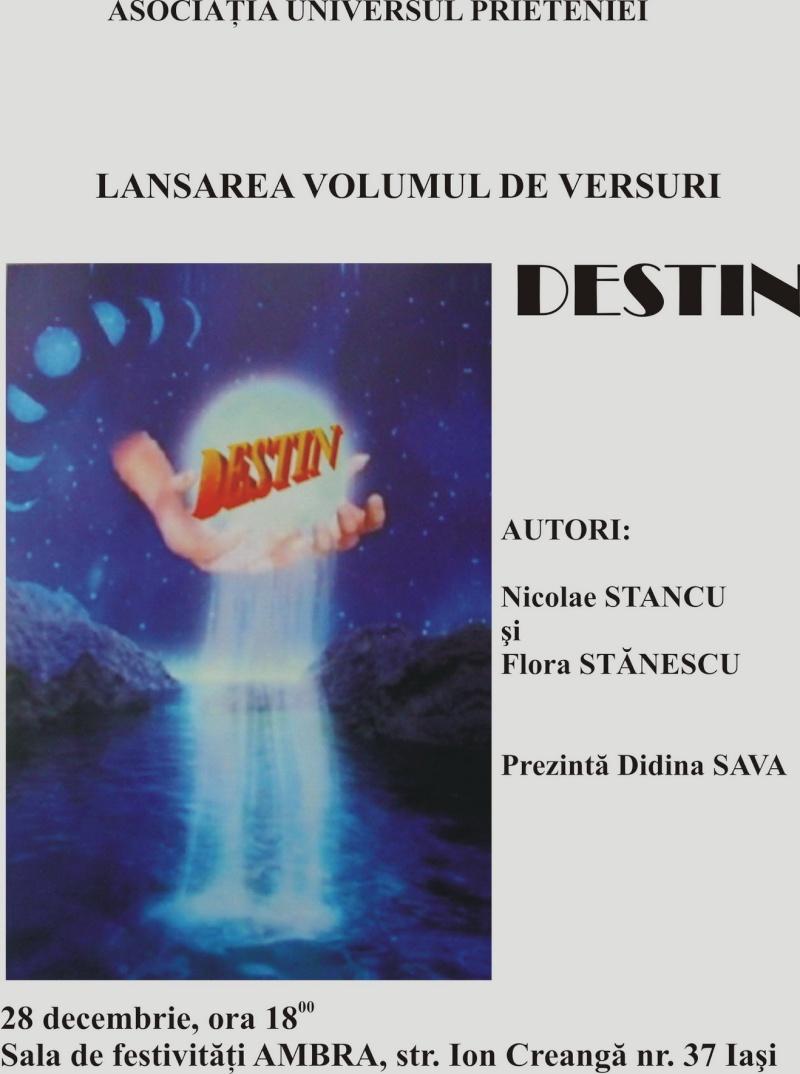 28 decembrie 2007 -Iasi -lansare de carte Volumul Destin-al Florei si NicK Afis-d10