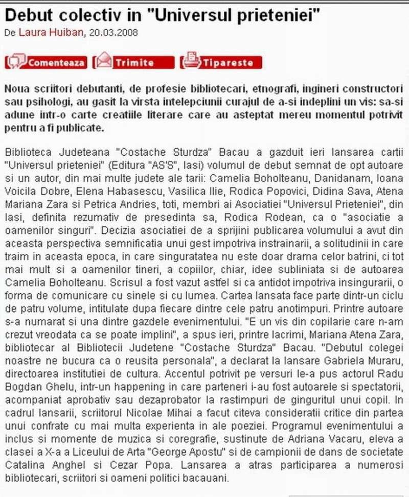 Ecouri in presa despre  actiunile organizate de Asociatia Universul Prieteniei Clip13