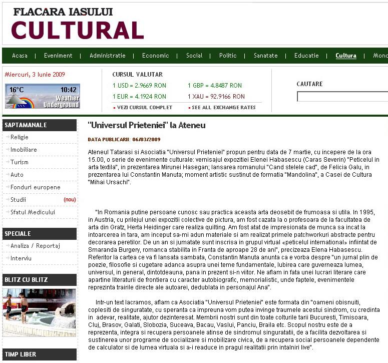 Ecouri in presa despre  actiunile organizate de Asociatia Universul Prieteniei Clip_218