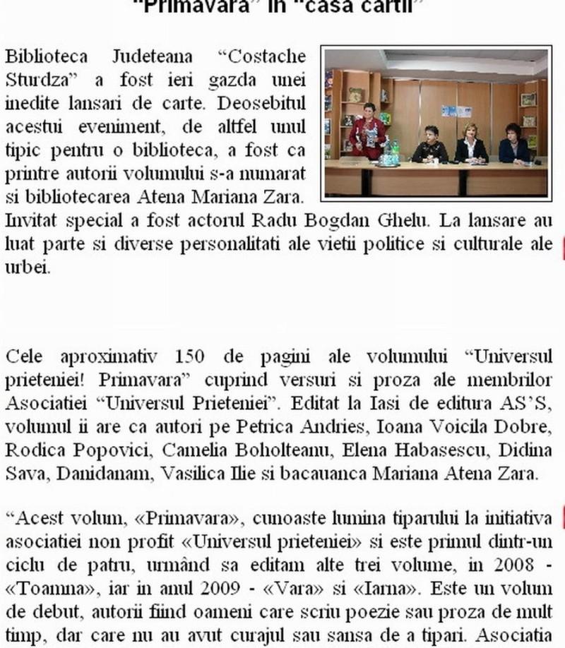 Ecouri in presa despre  actiunile organizate de Asociatia Universul Prieteniei Clip_315