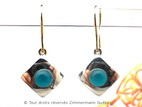 B.O. Boules agate vertes non percé serti sur un carré de 9 mm X 9 mm Dscn8821