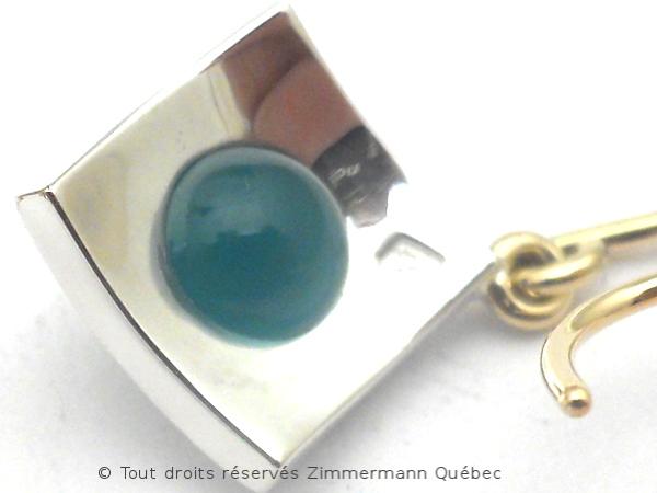 B.O. Boules agate vertes non percé serti sur un carré de 9 mm X 9 mm Dscn8823