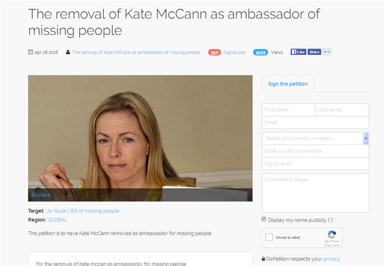 The removal of Kate McCann as ambassador of missing people Amb10