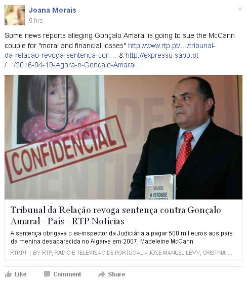 """Joana Morais: Some news reports alleging Gonçalo Amaral is going to sue the McCann couple for """"moral and financial losses"""" Joana10"""