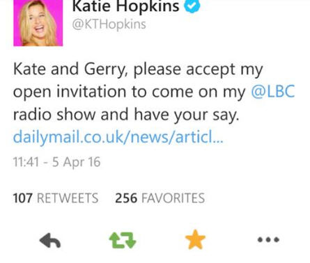 Katie Hopkins is offering Kate and Gerry McCann an interview on her LBC show Kth10