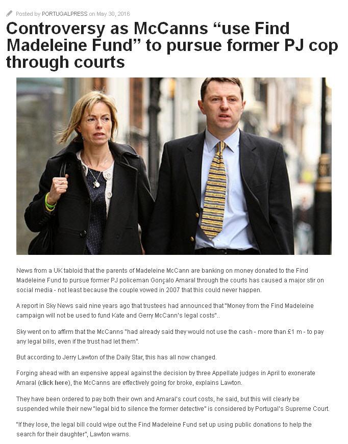 "Controversy as McCanns ""use Find Madeleine Fund"" to pursue former PJ cop through courts Nd110"