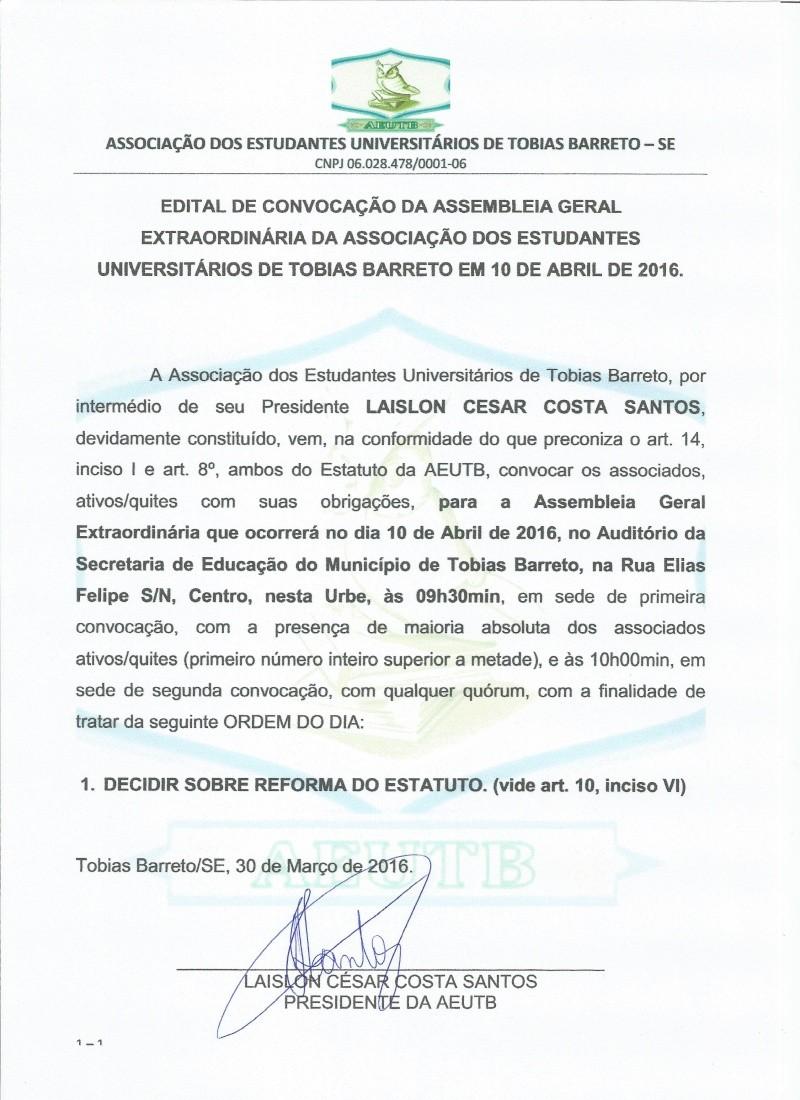 EDITAL DE CONVOCAÇÃO ASSEMBLEIA EXTRAORDINÁRIA DIA 10-04-2016  Edital10