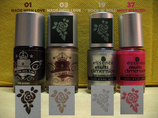 Swatch smalti Essence e Astra per nail stamping Essenc12