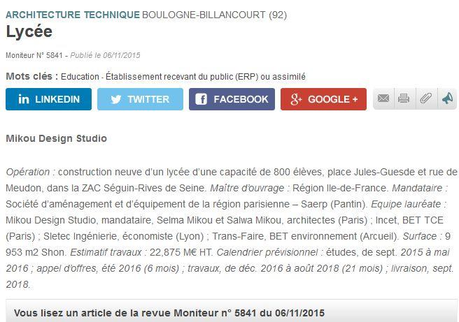 Informations sur le lycée du trapèze Clipbo14