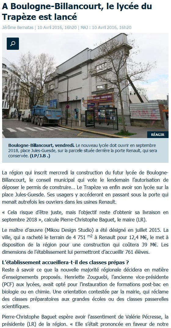 Informations sur le lycée du trapèze Clipbo69
